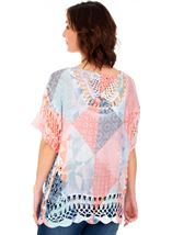 Crochet Trimmed Loose Fitting Top Blue/Coral - Gallery Image 2