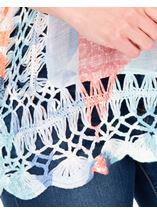 Crochet Trimmed Loose Fitting Top Blue/Coral - Gallery Image 3