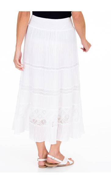 Anna Rose Lace Panel Midi Skirt - White
