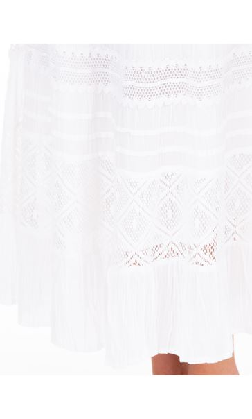 Anna Rose Lace Panel Midi Skirt White - Gallery Image 3