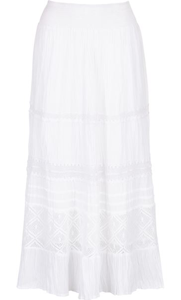 Anna Rose Lace Panel Midi Skirt White - Gallery Image 4