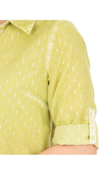 Anna Rose Shimmer Washed Shirt Lime - Gallery Image 3