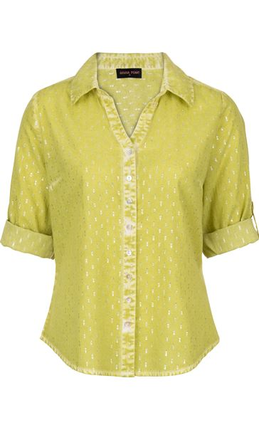 Anna Rose Shimmer Washed Shirt Lime - Gallery Image 4