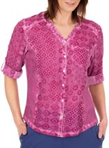 Anna Rose Printed Cotton Blouse Magenta - Gallery Image 1