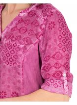 Anna Rose Printed Cotton Blouse Magenta - Gallery Image 3