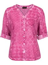 Anna Rose Printed Cotton Blouse Magenta - Gallery Image 4