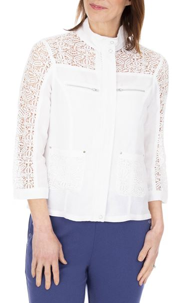 Anna Rose Lace Panelled Zip Jacket White - Gallery Image 1