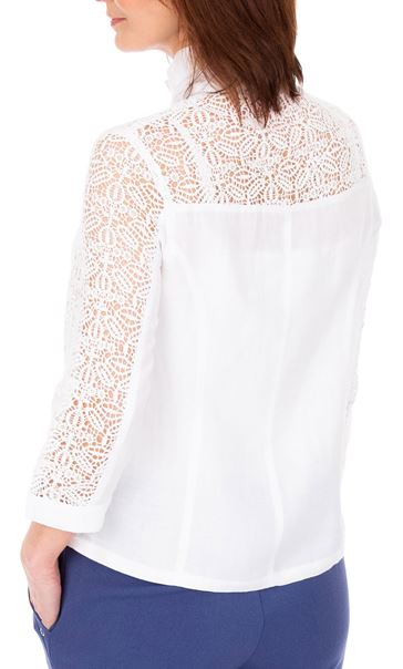 Anna Rose Lace Panelled Zip Jacket White - Gallery Image 2