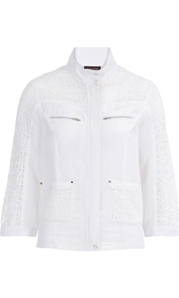 Anna Rose Lace Panelled Zip Jacket White - Gallery Image 3