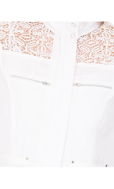 Anna Rose Lace Panelled Zip Jacket White - Gallery Image 4
