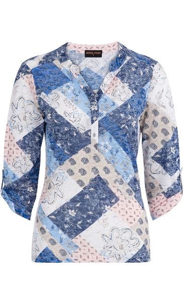 Anna Rose Lightweight Printed Top Pink/Blue