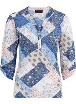Anna Rose Lightweight Printed Top Pink/Blue - Gallery Image 1