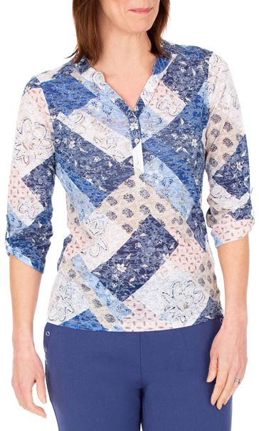 Anna Rose Lightweight Printed Top Pink/Blue - Gallery Image 2