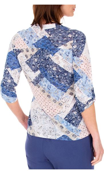 Anna Rose Lightweight Printed Top Pink/Blue - Gallery Image 3