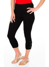 Eyelet Trim Cropped Jersey Leggings Black - Gallery Image 1