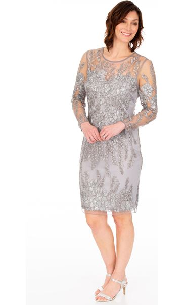 Long Sleeve Embellished Fitted Mesh Dress Silver Grey