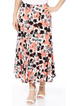 Anna Rose Panelled Floral Midi Skirt Coral/Grey - Gallery Image 1
