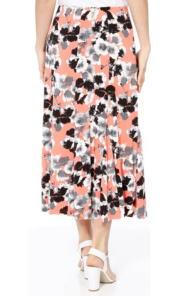 Anna Rose Panelled Floral Midi Skirt Coral/Grey - Gallery Image 3