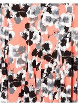 Anna Rose Panelled Floral Midi Skirt Coral/Grey - Gallery Image 4