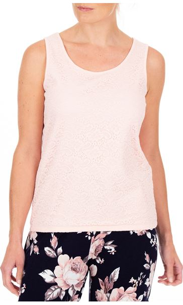 Anna Rose Lace Front Sleeveless Top Soft Pink