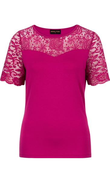 Anna Rose Lace Trim Jersey Top Hot Pink