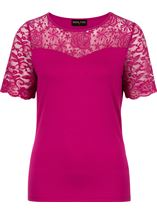 Anna Rose Lace Trim Jersey Top Hot Pink - Gallery Image 1
