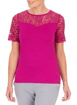 Anna Rose Lace Trim Jersey Top Hot Pink - Gallery Image 2