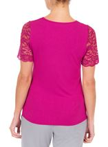 Anna Rose Lace Trim Jersey Top Hot Pink - Gallery Image 3