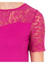 Anna Rose Lace Trim Jersey Top Hot Pink - Gallery Image 4