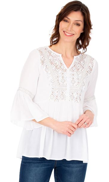Embroidered Boho Top White - Gallery Image 1
