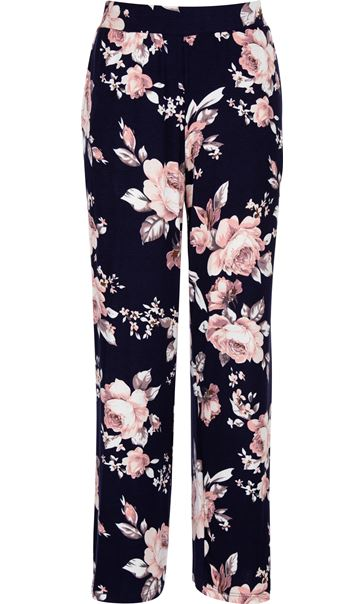 Anna Rose Printed Wide Leg Jersey Trousers Navy/Pink