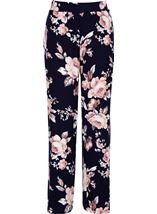 Anna Rose Printed Wide Leg Jersey Trousers Navy/Pink - Gallery Image 1