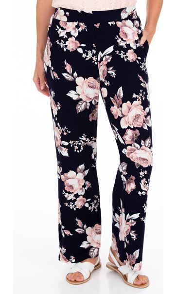 Anna Rose Printed Wide Leg Jersey Trousers Navy/Pink - Gallery Image 2