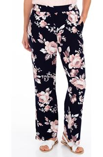Anna Rose Printed Wide Leg Jersey Trousers