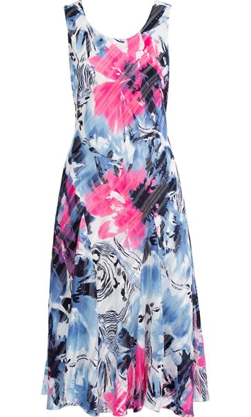 Anna Rose Bias Cut Floral Print Midi Dress Hot Pink/Blue