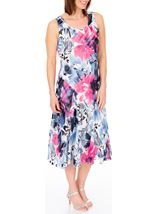Anna Rose Bias Cut Floral Print Midi Dress Hot Pink/Blue - Gallery Image 2