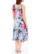 Anna Rose Bias Cut Floral Print Midi Dress Hot Pink/Blue - Gallery Image 3
