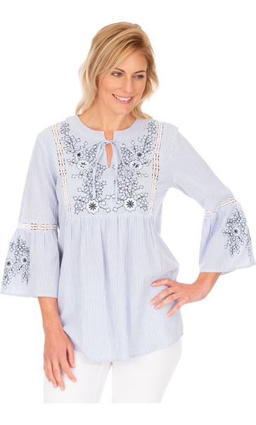 Striped Embroidered Cotton Top Blue/White