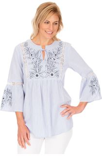 Striped Embroidered Cotton Top