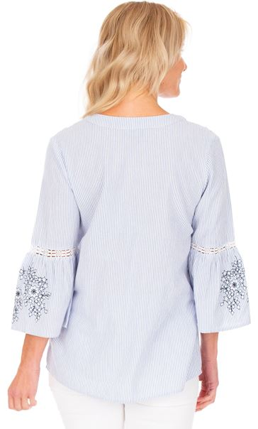 Striped Embroidered Cotton Top Blue/White - Gallery Image 2