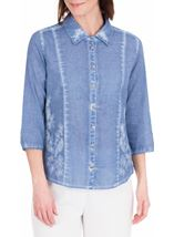 Anna Rose Washed Three Quarter Sleeve Cotton Shirt Blue - Gallery Image 1