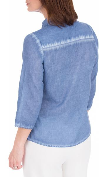 Anna Rose Washed Three Quarter Sleeve Cotton Shirt Blue - Gallery Image 2