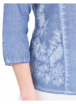 Anna Rose Washed Three Quarter Sleeve Cotton Shirt Blue - Gallery Image 3