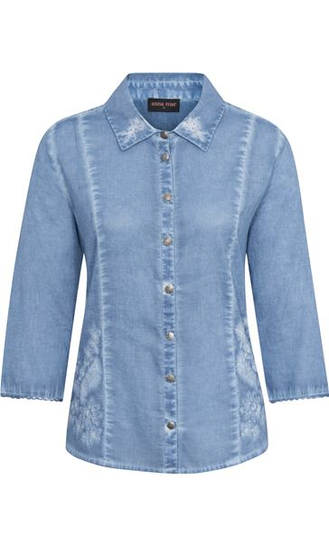 Anna Rose Washed Three Quarter Sleeve Cotton Shirt Blue - Gallery Image 4