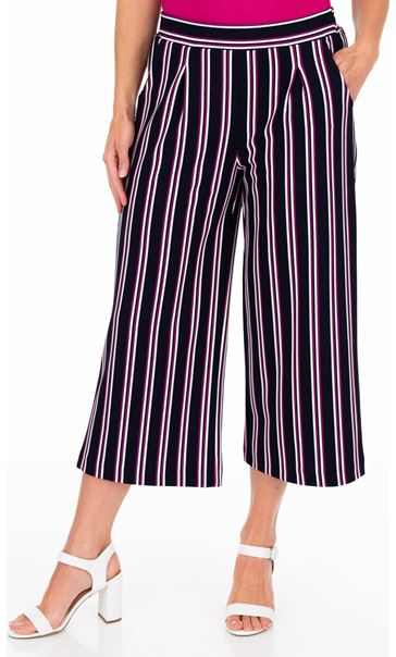 Striped Wide Leg Cropped Trousers Midnight/Pink