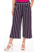 Striped Wide Leg Cropped Trousers