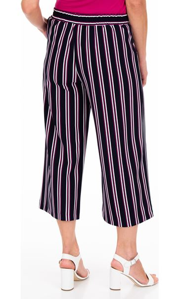 Striped Wide Leg Cropped Trousers Midnight/Pink - Gallery Image 2