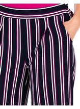 Striped Wide Leg Cropped Trousers Midnight/Pink - Gallery Image 3