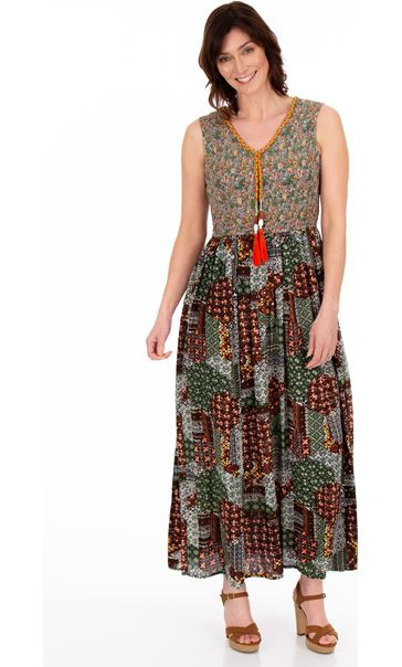 Sleeveless Printed Smocked Maxi Dress Multi
