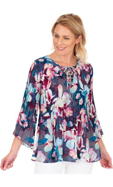 Floral Print Pleated Top Blue/Hot Pink
